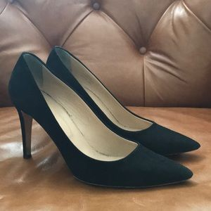 J Crew black suede and leather high heels